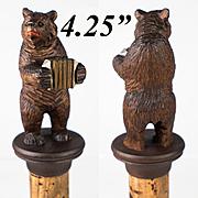 """Antique Hand Carved Black Forest 4.25"""" Bear Bottle Stopper, Cork, c.1870s-1900"""