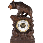"Antique to Vintage Hand Carved Black Forest Bear, 12"" Barometer Stand for Tabletop"