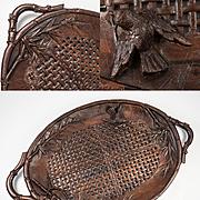 "Superb Antique Teak Asian Serving or Fruit Tray, Carved Wood Bird & Lattice 15.5"" x 9.5"""
