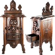 """Exceptional 16"""" Antique French Hand Carved Salt, Spice Cabinet, Box, Casket c.1800s, Shell and Acanthus"""