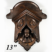 "Antique Hand Carved Black Forest or French Gothic Wall Shelf, Bracket or Clock, Figural c.1800s, 13"" high, 15"" wide"