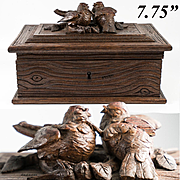 Antique Hand Carved Black Forest Jewelry Box, Casket, Coffret, Superb Animalier Birds up Top, 7.75""