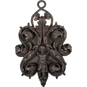 Antique Black Forest Hand Carved Wall Decoration, Wrought Iron and Figure, Putti in Wood