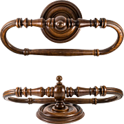 Antique French Turned Wood Ornate Towel Rack, Victorian Era or Napoleon III, c. 1870-1890