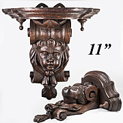 "Antique French Carved or Black Forest Figural Carved Wood Wall, Clock, Bracket Shelf, 11"" x 10.5"", 5.5"" Deep"