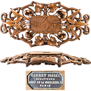 Superb Antique French Hand Carved Bread Tray, Rare GUERET FRERES Signature, c.1860-1900, Black Forest Compliment