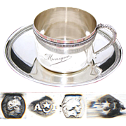 "Lovely Antique French .800 (nearly sterling) Silver Tea Cup & Saucer, Large ""Monique"" Inscription"