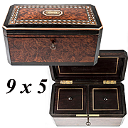 Antique French Napoleon III Boulle and Burled Wood Double Well Tea Caddy, Chest, Lock with Keyl