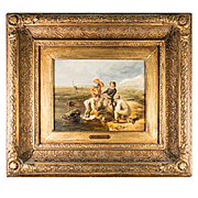 "Antique English Oil Painting, WILLIAM COLLINS (1788-1847), Royal Academy, ""Contrary Winds"", in Frame"