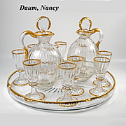 Antique French Liqueur Service, DAUM NANCY Signed, Tray, 2 Decanters, 10 Stem Cordials, Gold