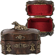 Antique French Jewelry Box, Casket with Dog and Figural Appliques on Rich Oak, 1800s
