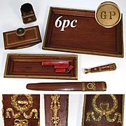 Rare Antique French 6pc Mahogany & Gilt Ormolu Writer's Desk Set, Elegant Empire Style: Wax Seal, Boar Bristle Brush +