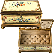 "RARE Large Antique French Kiln-fired Enamel Jewelry Box, Casket, 7.5"", Pristine, Sevres or Bresse"