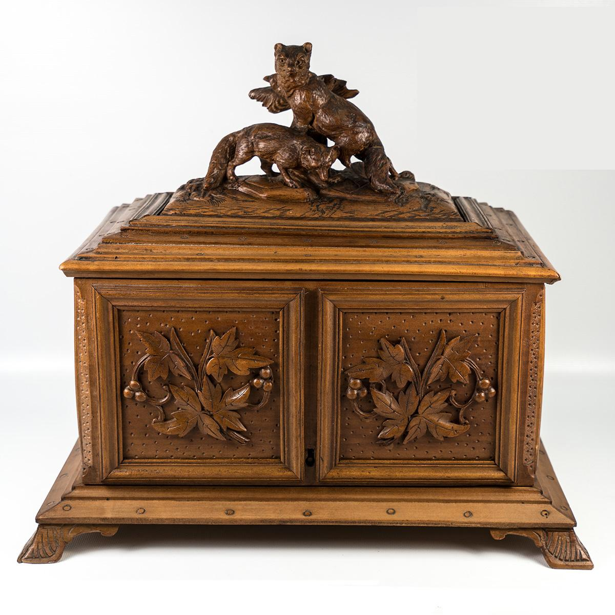 All items and photos are the express property of Antiques & Uncommon  Treasure. No reproduction without prior written consent. - Antique Black Forest Desk Cigar Cabinet, Chest, Box, Presentation