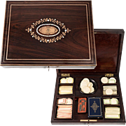 Superb Antique French Boulle Gaming or Card Playing Box, c.1850, Gaming Tokens, Chips, Cards