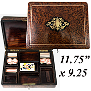 Antique French Napoleon III Boulle and Burled Wood Gaming Box, Chest, 19th c. Playing Cards and Chips, Lock with Key