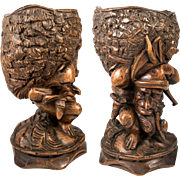 "Antique Black Forest Hand Carved Gnome open Goblet or Smoker's Caddy, Box, 8.5""  c.1880s"