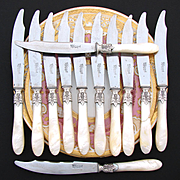Rare Dinner Sized Antique French .800 (nearly sterling) Silver & Mother of Pearl Handled Knife Set, Shaped Blades, Original Box