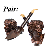 "Fabulous PAIR Antique 19th c. Carved Wood Pipe Set, 2: Pan and A Lady, 8"", Black Forest"