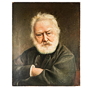 Antique French Oil Painting, Portrait of Victor Hugo, Author of Hunchback of Notre Dame, etc., etc.,