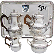 Lovely Antique French Sterling Silver 4pc Solitaire or Tete-a-Tete Sized Coffee or Tea Set with Tray, Engraved CROWNS