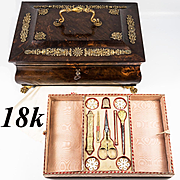 V RARE Napoleon Era French Sewing Box, Chest, 18k Gold Tools, Scissors, Thimble, Complete