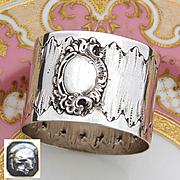 Antique French Sterling Silver Napkin Ring, Louis XVI or Rococo Pattern, Raised Medallion