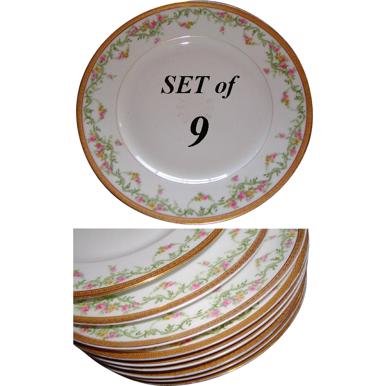 "Gilt Parcel Rim, Floral Garlands on These 9 Antique French Porcelain 9.5"" Plates"