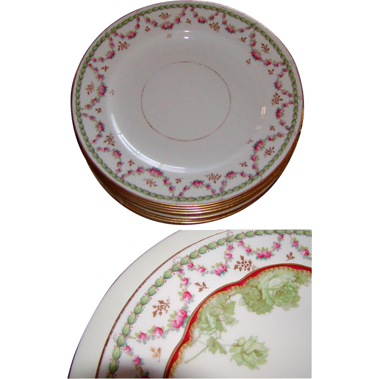 Antique Copeland Spode Luncheon Plates: Set of 10! Holiday Floral & Gold