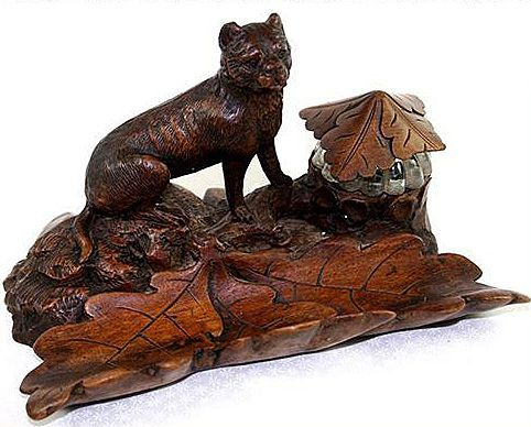 RARE Antique Black Forest Carved Lion, Inkwell and Desk Set, Pen Tray