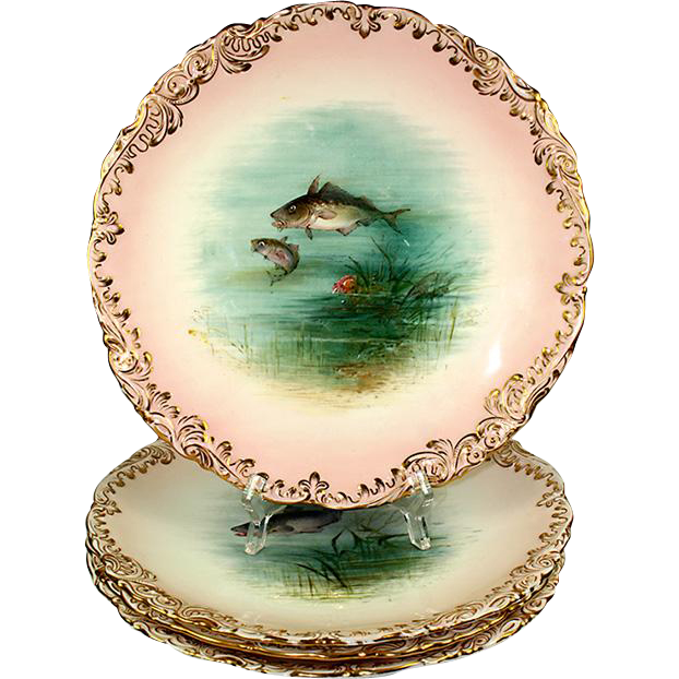 "Fine Antique Coalport Marked 4 Piece 9"" Fish Plate Set, 3 Species!"