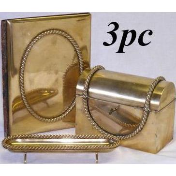 RARE 3pc Antique French Gilt Bronze Desk Set: Stationery Casket, Folio & Pen Tray!