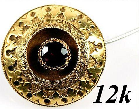 Antique Victorian Memorial Hair Art Brooch, 12K Gold & Garnet