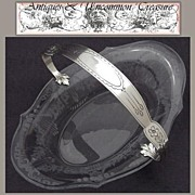 Antique Sterling Silver & Engraved Glass Bonbon, Basket Dish