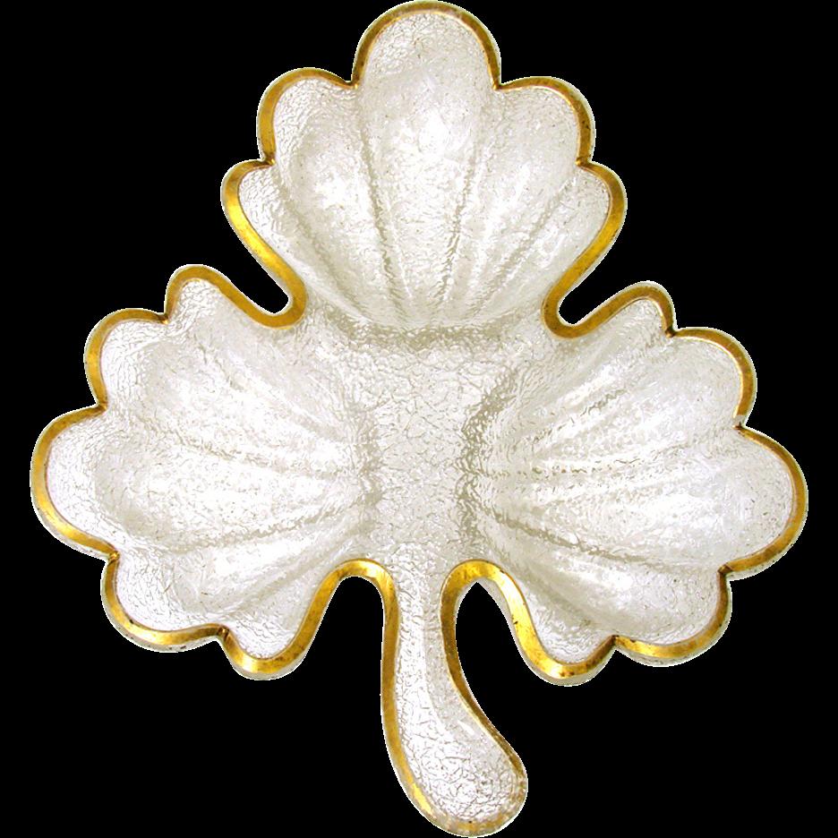 """Antique French Overshot Glass 11"""" Serving Dish, Leaf or Clover Shape, Gilt Rim"""