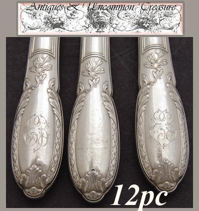"""Antique French Sterling Silver 12pc 10"""" Dinner Knife Set, Box: Olier et Caron, Paris silversmith"""
