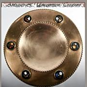 HUGE Antique Grand Tour Pietra Dura Raised Tazza, 6 Plaques