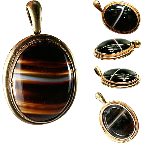 Antique Scottish Banded Agate Pendant, 18k Mourning Locket