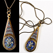 Fine Antique 18k Gold, Etruscan Micro Mosaic Drop Pendant