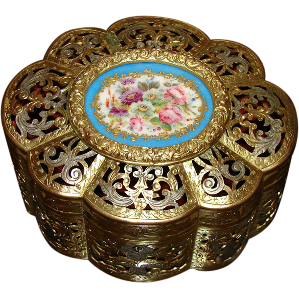 "Antique French Napoleon III 6"" Jewel Casket, Gilt Ormolu with Sevres Floral Porcelain Medallion"