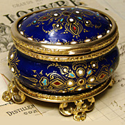 "Fab Antique French Jewelry Casket,  ""Jeweled"" Cobalt Enamel"
