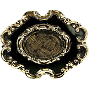 Antique Victorian Mourning Brooch, Enamel on 12k Gold - Hair locket, c. 1840-60