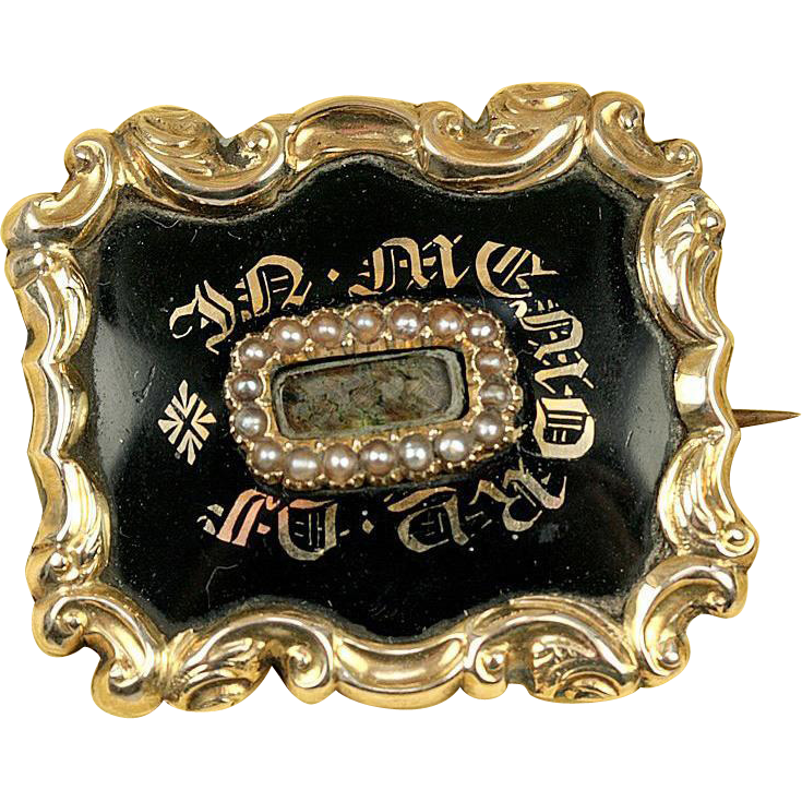 Antique Victorian Mourning Brooch, Enamel on 12k Gold - Hair locket, c. 1840s, ID'd Engraving