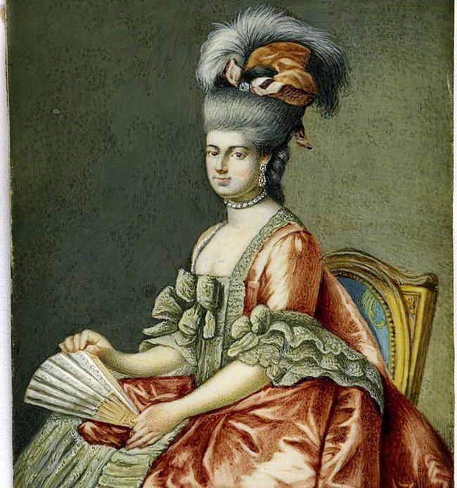 Antique Portrait Miniature, Lady Holding a Fan, Fran. Bartolozzi