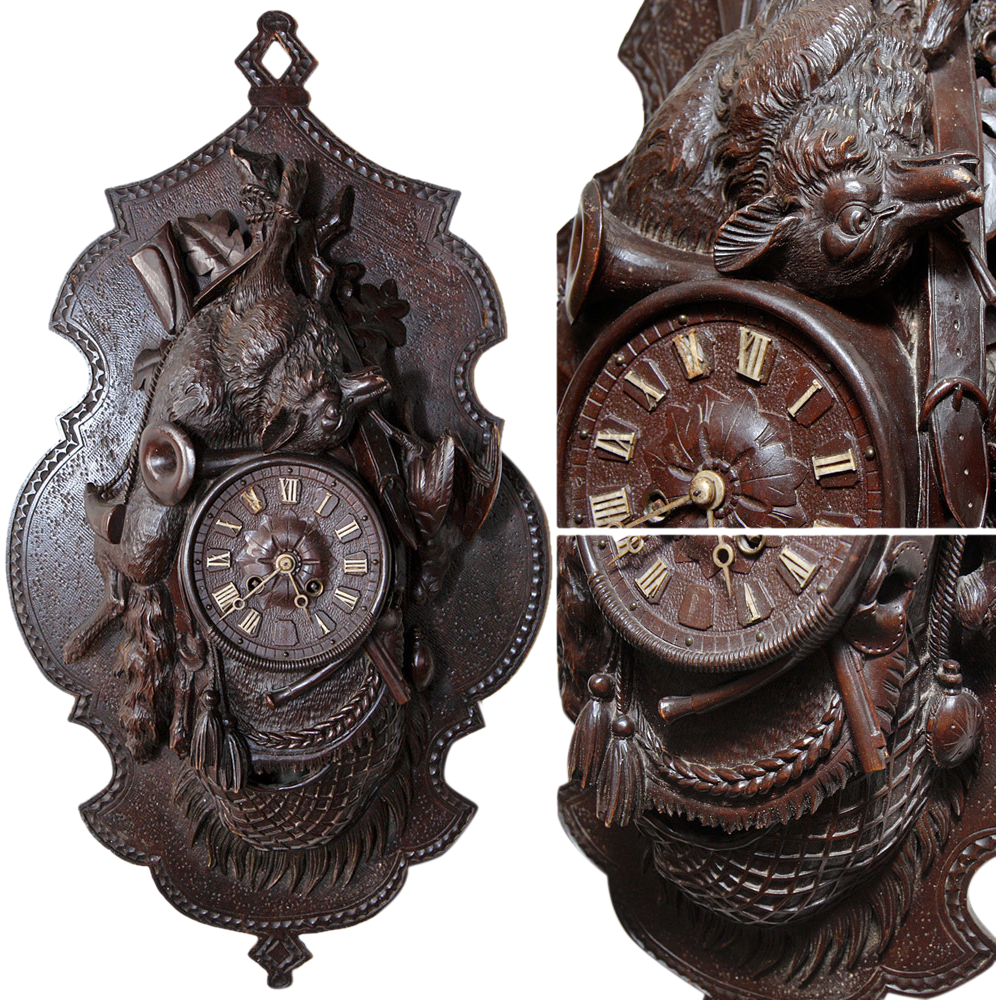 """LG Antique Black Forest 27.5"""" Wall Clock, Hunt Theme Plaque with FOX & Game Bird Figures"""