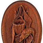 Antique Carved Black Forest Hunt Theme Plaque, Goose