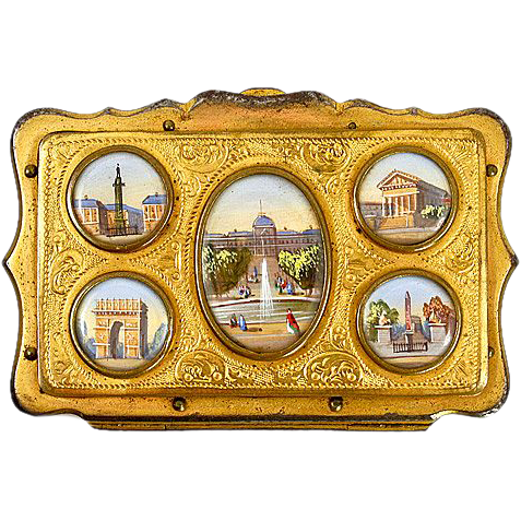 Antique French Souvenir Coin Purse, 5 Eglomise Views of Paris c. 1850-70