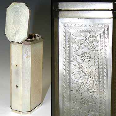 Antique Georgian Era Incised Mother of Pearl Etui, Perfume Case