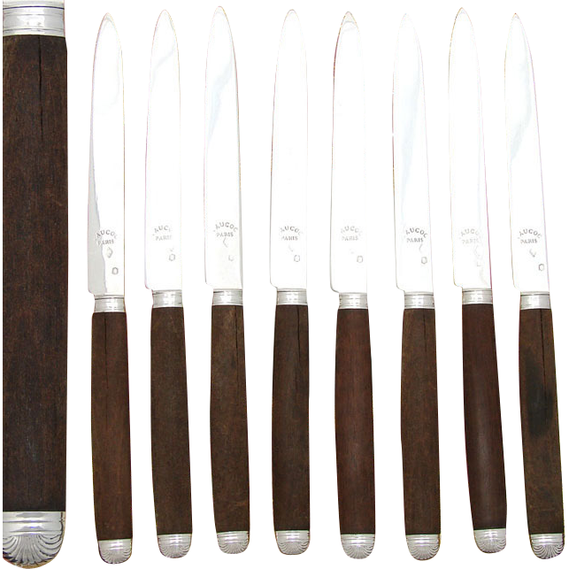 Antique French Sterling Silver 8pc Dessert or Entremet Knife Set, Walnut Handles