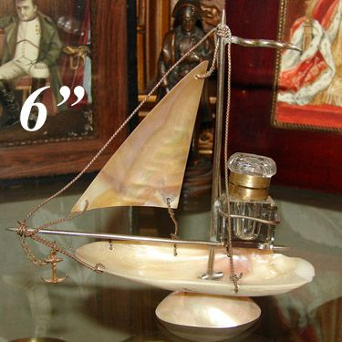 "Antique Napoleon III Mother of Pearl or Abalone 6"" Boat or Tall Ship Inkwell Stand"